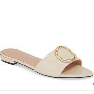 Beautiful New bone color leather flat shoe